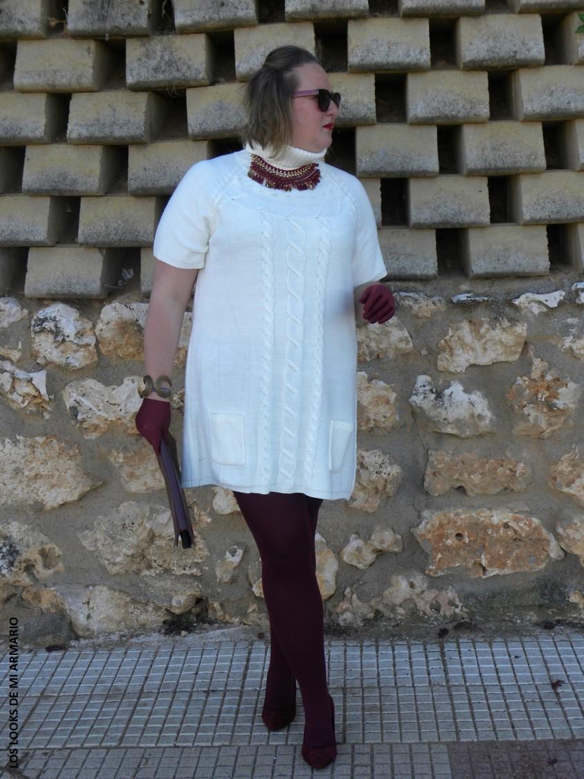 Vestido punto blanco invierno