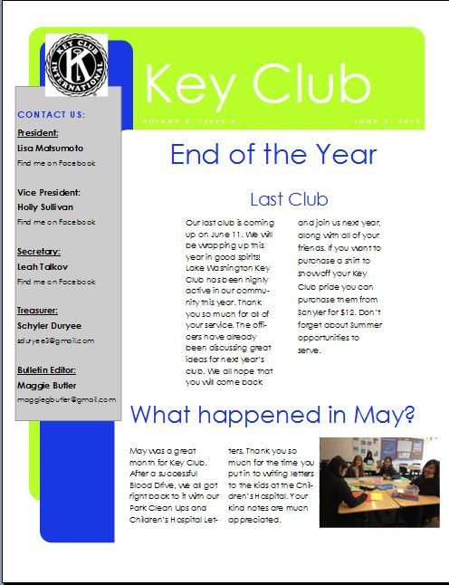free club newsletter template