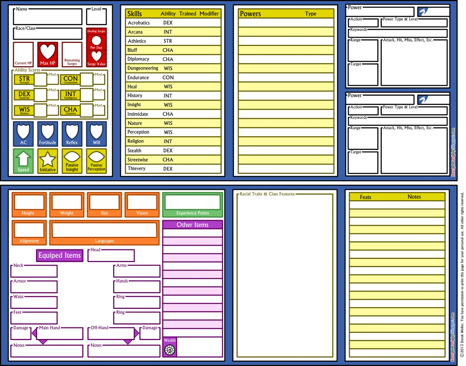 Custom Character Sheet Design : Iheartprintandplay d custom character sheet
