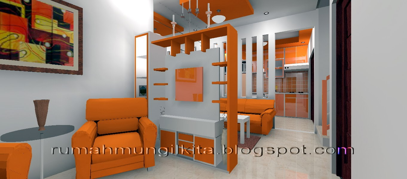 desain rumah oranye dengan partisi semitransparan
