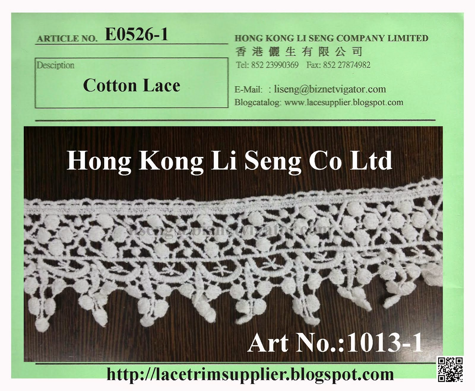 Embroidered Cotton Lace Trimming Manufacturer, Wholesale and Supplier - Hong Kong Li Seng Co Ltd