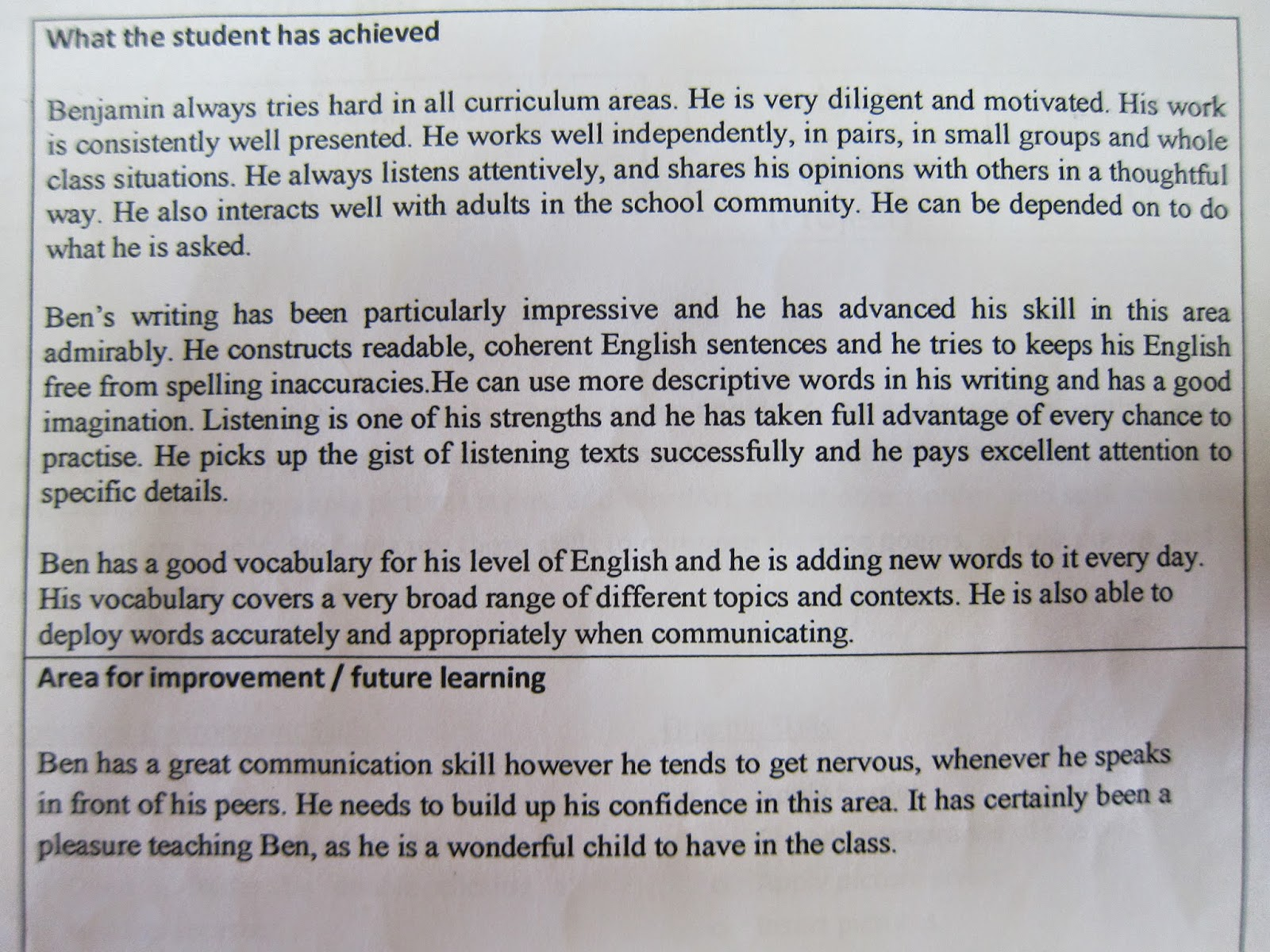 ben ben s blog mid year review below is the comments written in my assessment report