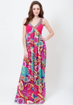 Maxi Dress , Floral print maxi dress fashion 2012 fashion trend