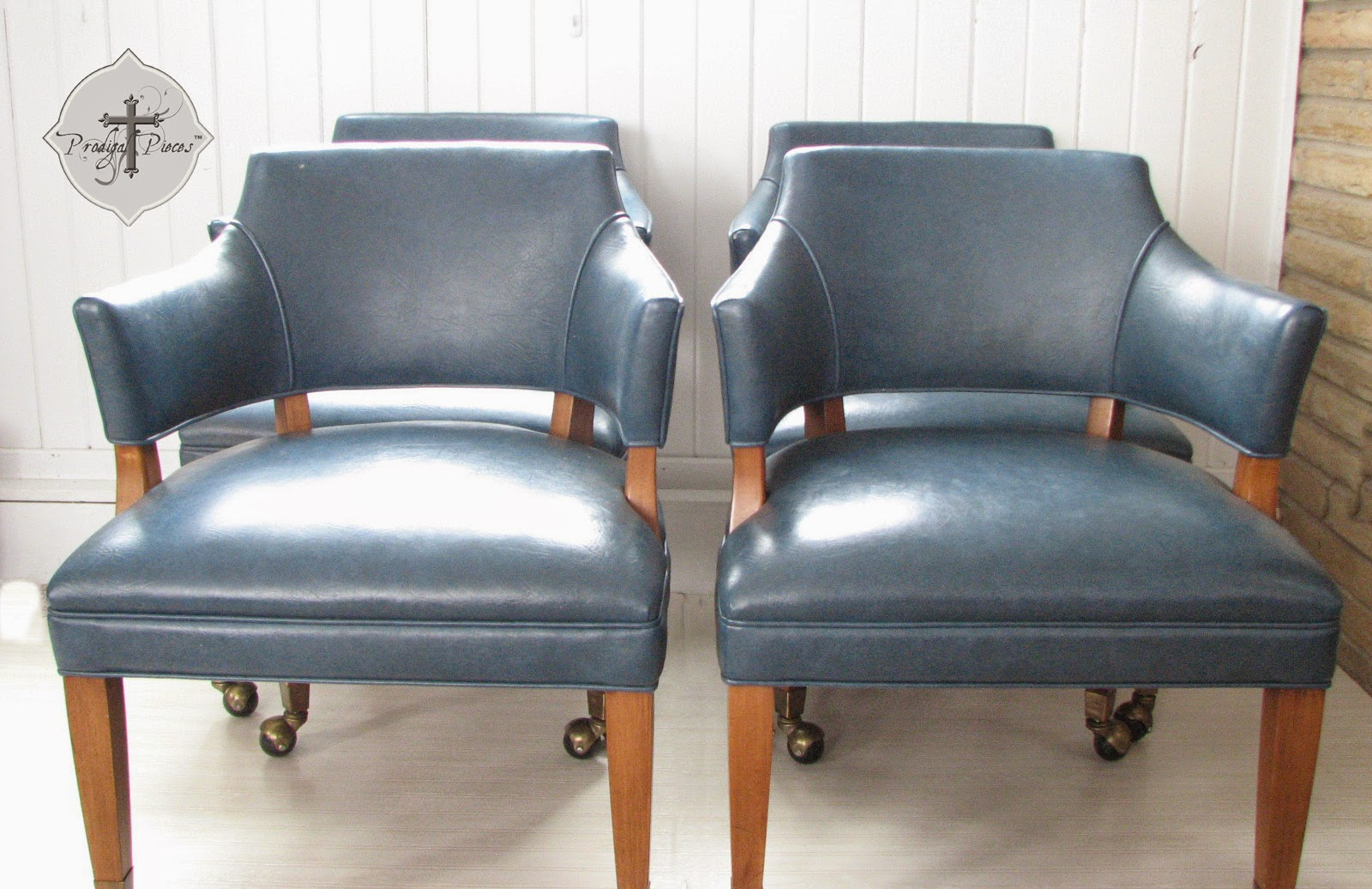 Set of Four Mid-Century Modern Blue Vinyl Dining Office Chairs via http://www.prodigalpieces.com