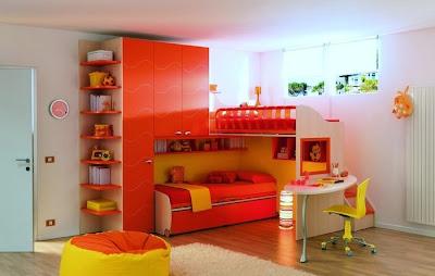 dormitorio muebles naranja niño