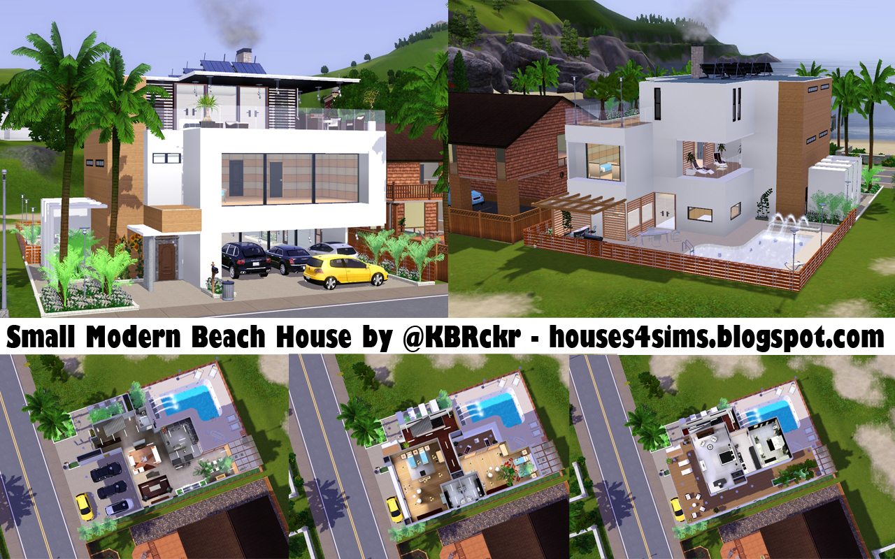 Houses 4 sims small modern beach house now 4 download lol for Small modern beach house