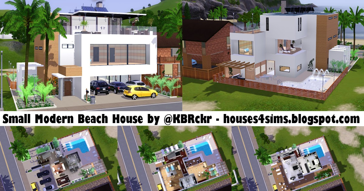 Houses 4 Sims Small Modern Beach House Now 4 Download lol