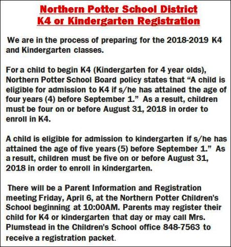 Northern Potter K4 or Kindergarten Registration, Northern Potter School