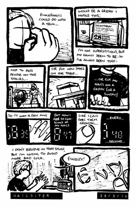 Comic strip about Alex thinking about superstitions and cutting his fingernails