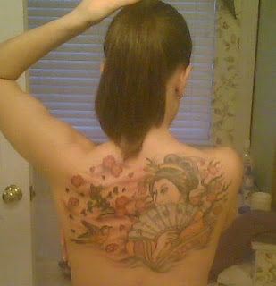 Tattooed Lady with Japanese Geisha Tattoo Design on back body
