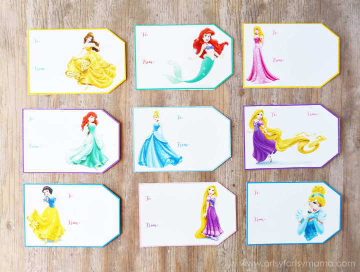 Free Printable Disney Princess Gift Tags at artsyfartsymama.com