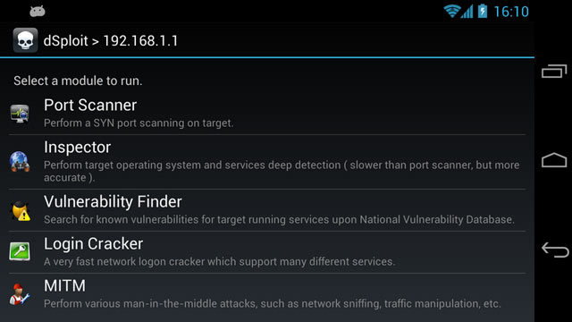 dsploit network penetration suite running on android