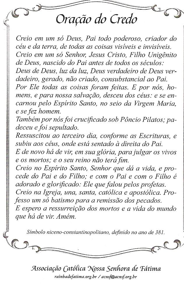 Favoritos Cordel & Vida: Oração do Credo MM14