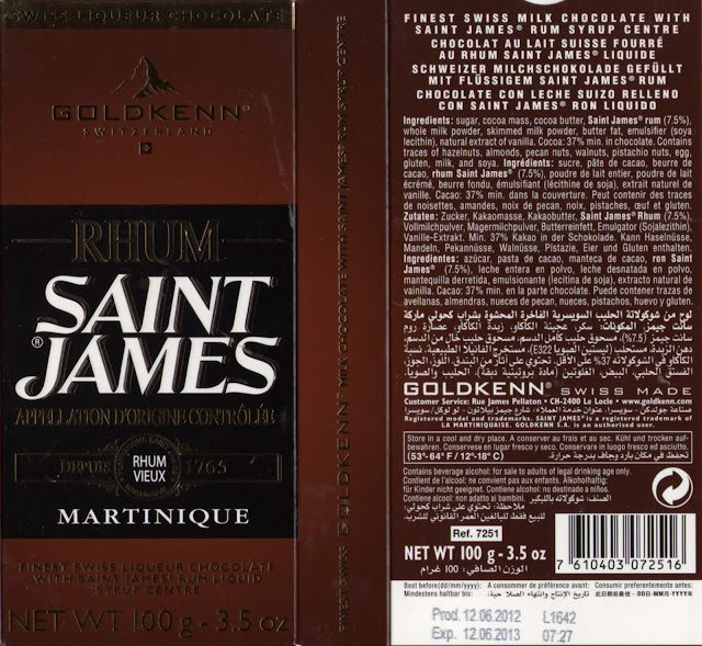 tablette de chocolat lait fourré goldkenn rhum saint james