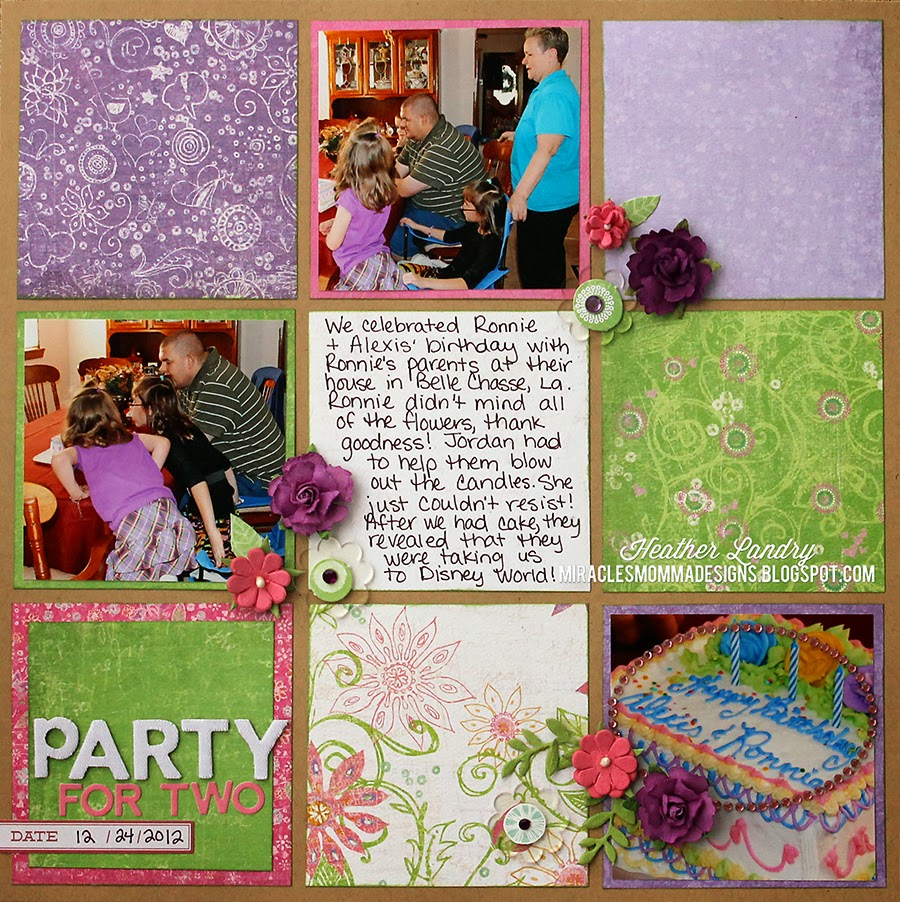 Grid Design_Scrapbook Page_Flowers_Birthday
