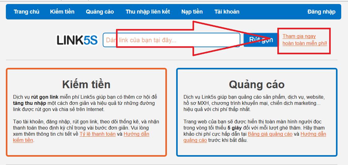 Link5s.com - Kiếm tiền qua mạng từ rút gọn link với web Việt Nam
