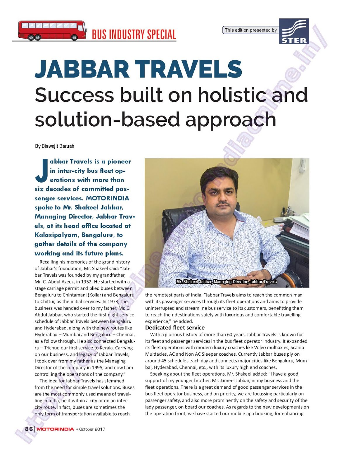 MOTOR INDIA ARTICLE 21 : JABBAR TRAVELS