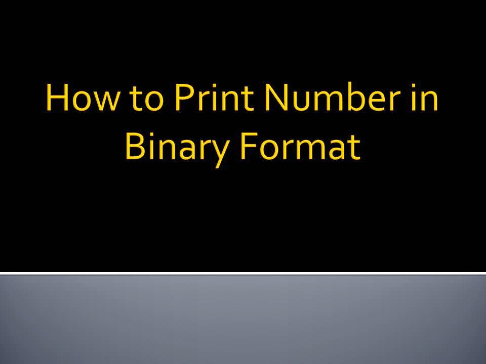 How To Convert Number In Binary Format In C With Example Code