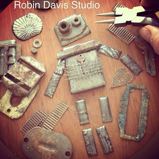 Robots wall pieces - rustic metal - Robin Davis Studio