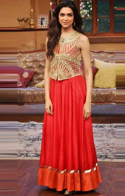 1815-Deepika Padukone Floor Length Anaekali At Comedy Nights..