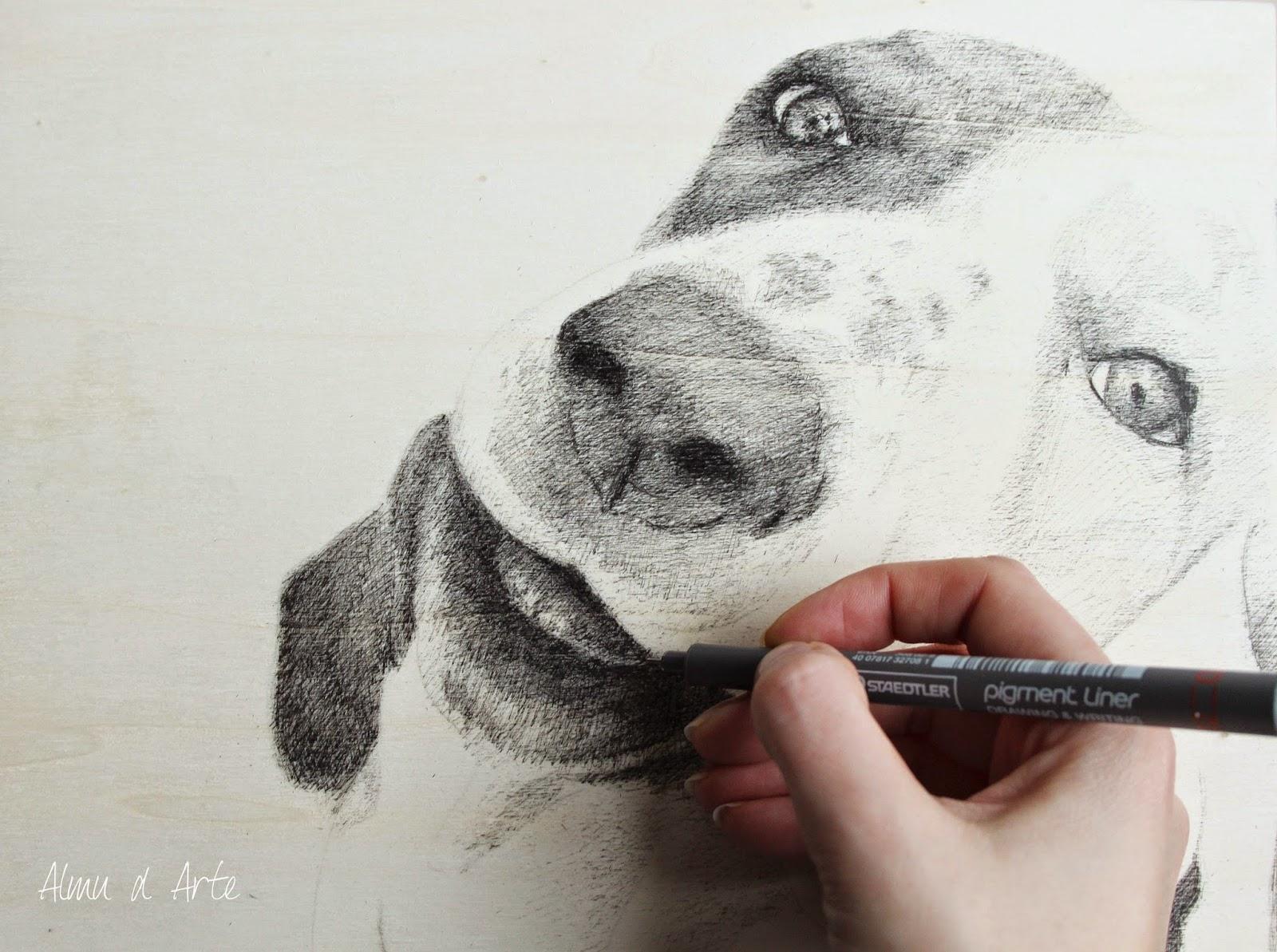 Retrato de una mascota con estilógrafo