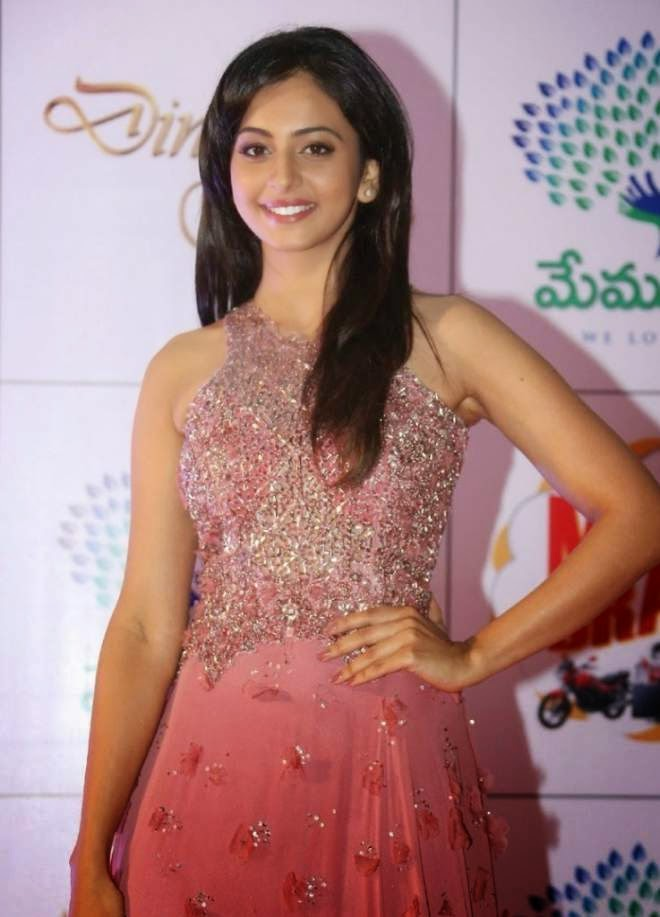 Rakul Preet Singh Hot Wallpapers in Pink Sleeveless Long Length Gowns