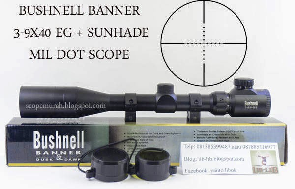 jual scope BUSHNELL + SUNHADE 3-9X40 EG Mildot Scope