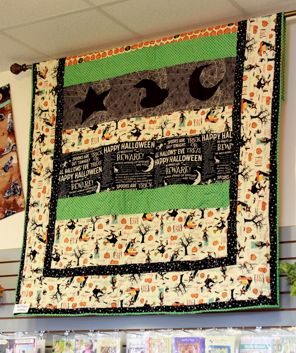 Really cute Halloween quilt on display at The Fabric Mill