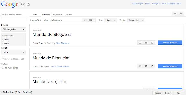 Adicionando fontes personalizadas do Google