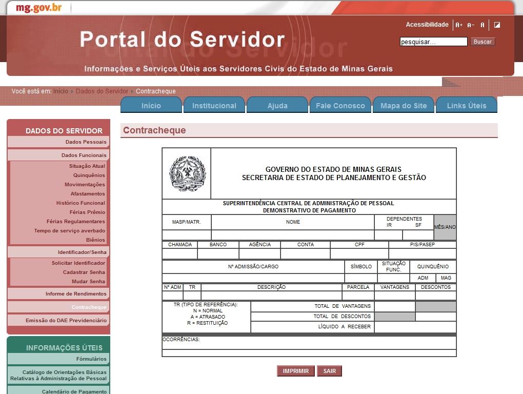 pagamento do estado rj outubro 2016 portal do servidor mg