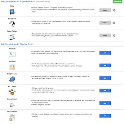 Liste mit möglichen Apps für den Bereich E-Commerce