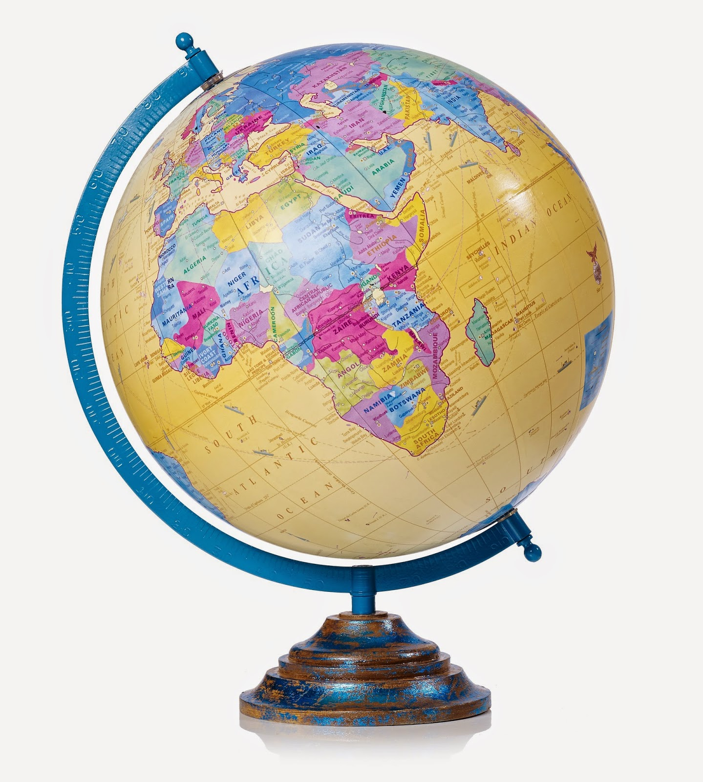 Oliver Bonas brightly coloured globe with wooden base
