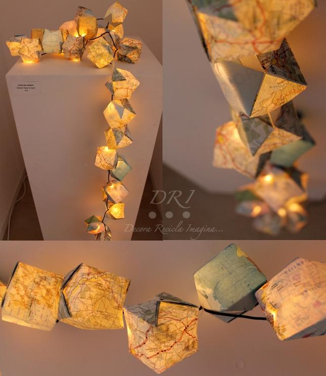 Guirnalda de luz y origami DRI