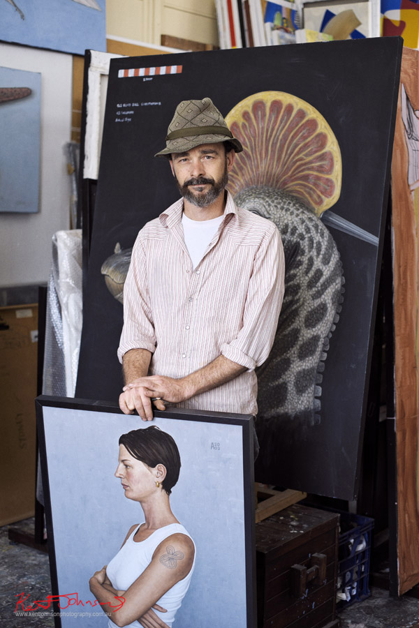 Andrew Sullivan painter - Artist portrait by Kent Johnson, Fujifilm X-Pro1, Lennox St Artists Studios, Newtown Sydney Australia.