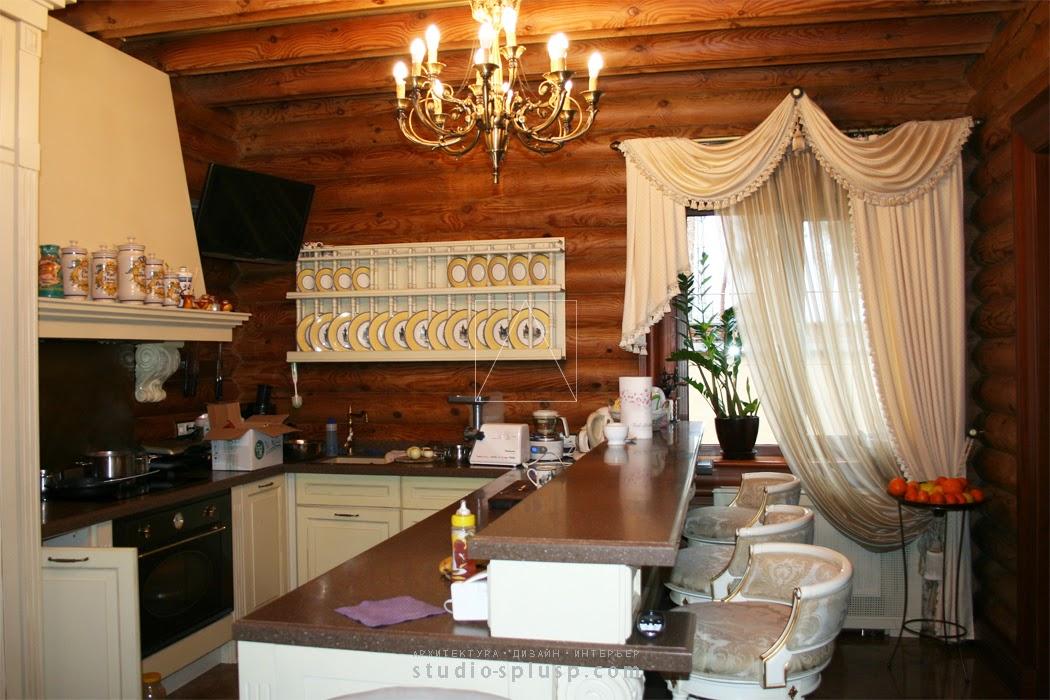 Дизайн интерьера в доме из оцилиндрованного бревна