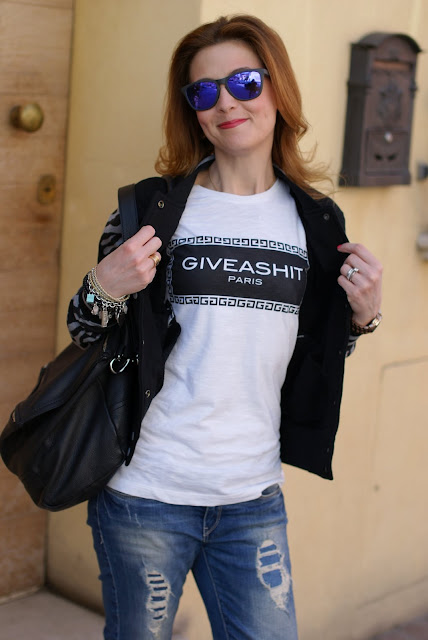 Giveashit tee-trend t-shirt, Oakley mirror sunglasses, Givenchy Pandora bag, Fashion and Cookies