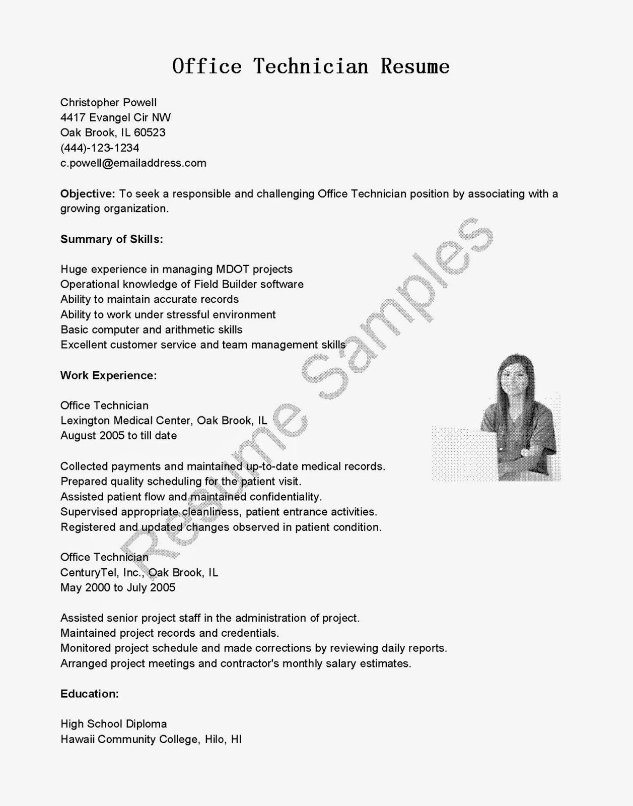 resume samples  office technician resume sample
