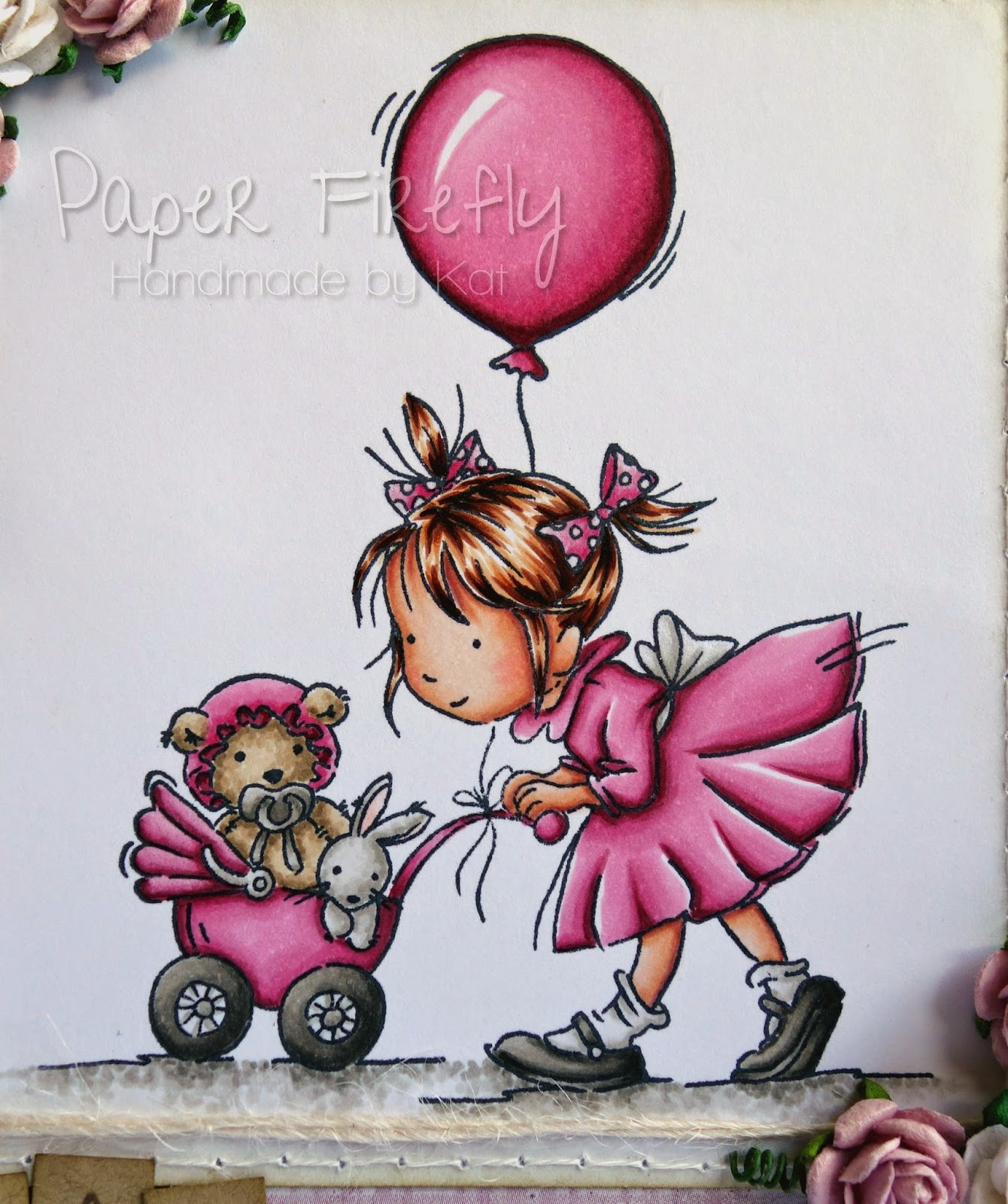 Pink and girly birthday card featuring 'afternoon stroll' stamp by LOTV