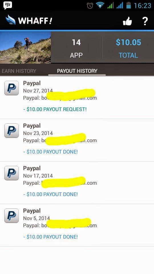 4 Hari dapet 10 Dollar Lewat HP Android Dengan Aplikasi WHAFF