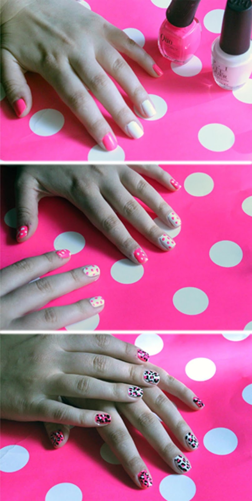 Neon pink and white leopard print nails beauty by birdy i started with three nails painted a hot pink base the other two received a couple coats of white nail polish i waited a few minutes for both colours to solutioingenieria Choice Image