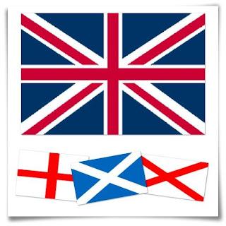 Bandera de Reino Unido y banderas que la componen, la bandera de Inglaterra, con la Cruz de San Jorge, la bandera de Escocia, con la Cruz de San Andrés, y la bandera roja aspada irlandesa, con la Cruz de San Patricio
