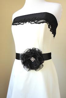 Black Fabric Flower Bridal Sash