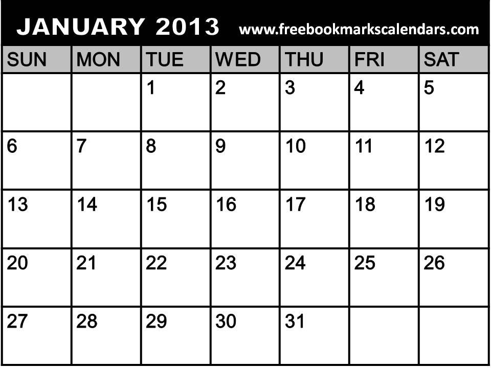 Blank January 2013 Calendar Printable