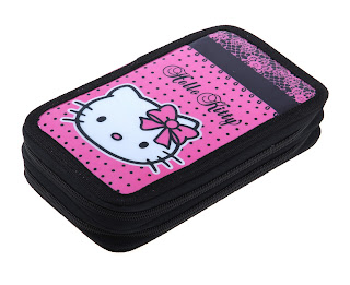 Hello Kitty black and pink pencil case for school