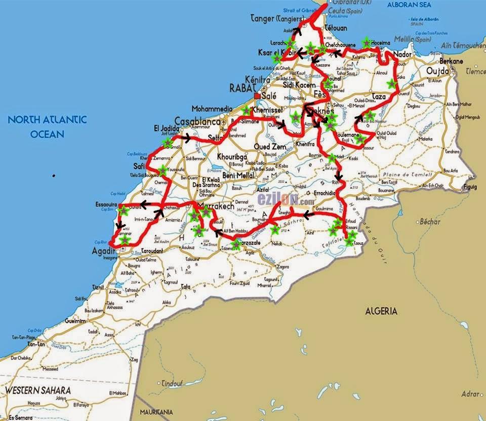 Mapa Marrocos Fábia e Thijs 2014