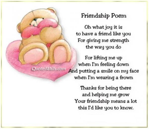 Cute Friendship Day Poem with Picture