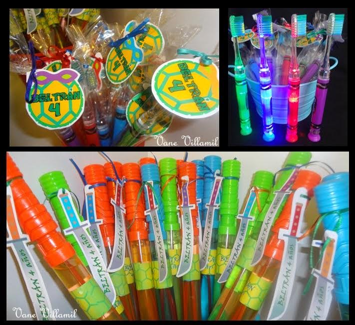 Burbujeros y cepillos de dientes con luz!!!