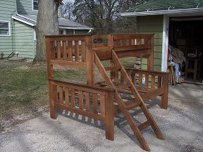 K N Furniture Twin Over Full Maple Bunk Bed