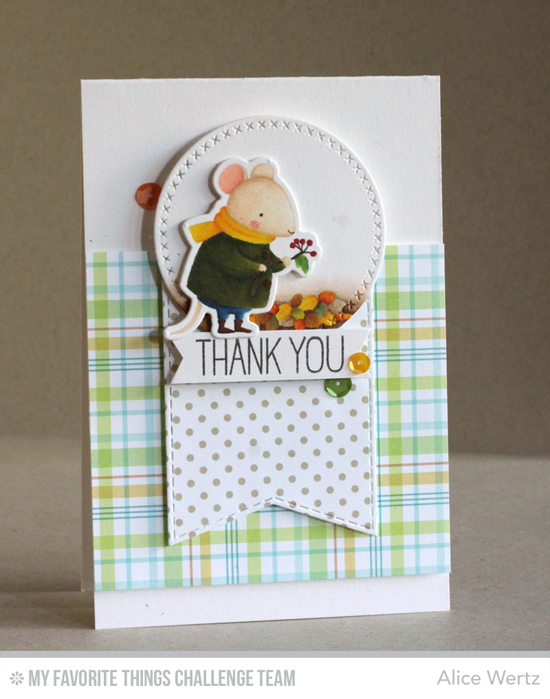 Sweet Thank You Card by Alice Wertz featuring the Birdie Brown Harvest Mouse stamp set and Die-namics and the Cross-Stitch Circle STAX and Stitched Jumbo FIshtail Banner STAX Die-namics #mftstamps