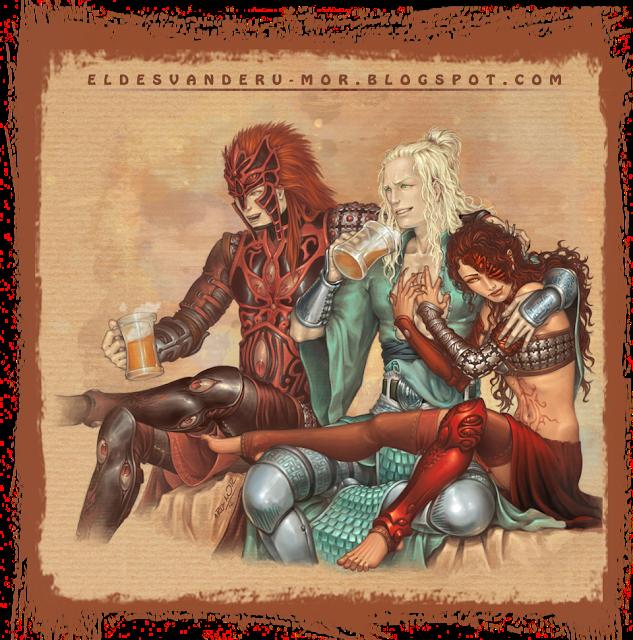 Escena distendida de los protagonistas del juego de Cartas de ÉPICA realizada por ªRU-MOR